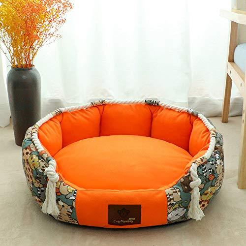 CYGJ Kleine und mittlere Haustiere mit herausnehmbaren Matten Cartoon + Orange S