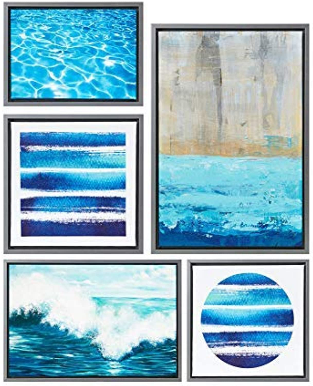 Water Tide bluee Canvas Wall Art 25.6X17.6, Novelty Modern Contemporary Wall Décor