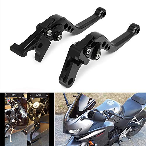 JFG RACING CNC - Palancas de Freno Ajustables para Honda VT750 Phantom/Shadow 10-17, Negro con espirales 14-16, Fury/VTX1300CX 11-17, CMX 500/300 Rebel 2017, Color Negro