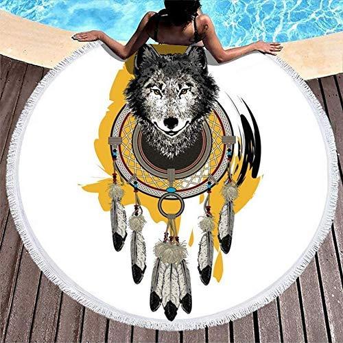 Serviettes de Plage Native Tribal Wolf Dreamcatcher Totem léger Jet Rond Plage châle Sable Gratuit Serviettes de Bain pour Femmes Hommes garçon Fille Enfants