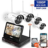 [All-in-One] SMONET HD 4CH 960P 1TB HD Wireless Video Security Camera System