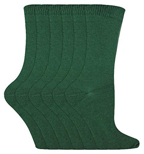 Sock Snob - 6 Pares Niño Finos Colores Vestir Algodon Calcetines para Colegio Uniforme (Verde oscuro, 27/30 EU)