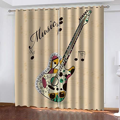 LIZHIOO Cortinas De Apagón De La Guitarra De Color, Cortinas De Aislamiento De Calor Impermeable 3D Impermeable, Cortinas Perforadas Multifuncionales, Adecuadas Para El Estudio Del Dormitorio