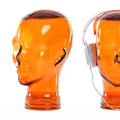 Preisvergleich Produktbild DESIGN DELIGHTS KOPFHÖRERSTÄNDER Mick / Recycling Glas,  transparent orange,  29 cm / Deko Kopf