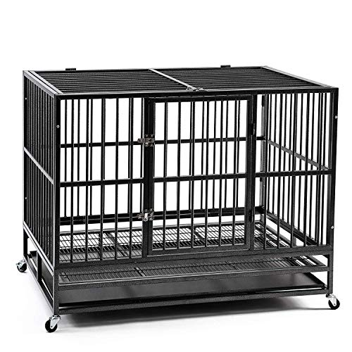 HYD-parts 48' Pet Dog Crate for Large Dog , Heavy Duty Foldable Strong Metal Dog Kennel Playpen w/Wheels&Tray