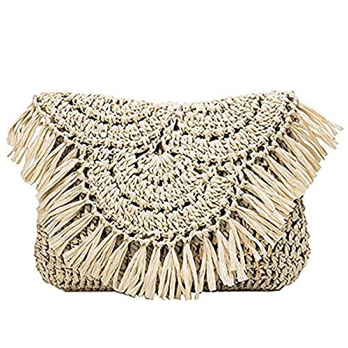 Bolsos de paja de verano Bolsos de hombro de playa con borlas hechas a mano, Mini bolso de mano de vacaciones de ratán tejido de rafia 2021 Bolsos cruzados (Beige)