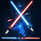 TOY Life Light Up Saber | 2 Pack Telescopic Extendable and Collapsable Laser Sword | 2-in-1 LED + Sound FX Light Up Sword for Kids Costumes | Connects at Base to Become Double Bladed Saber Staff
