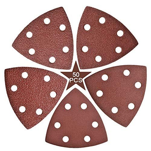 50 almohadillas de lija para ratón de 90 mm, con adhesivo triangular, varios discos de lija 40 60 80 100 120, 6 agujeros, gancho y bucle, para lijadora Bosch Multi-Sander (50 unidades)