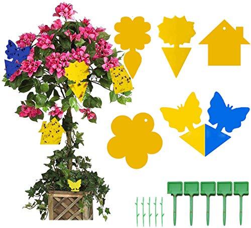 Walant 80 trampas adhesivas amarillas para moscas de fruta, atrapamoscas de doble cara, adhesivo ideal para plantas en macetas contra mosquitos tristes, pulgones, mineros, balcones, jardines