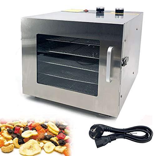 Cozyel Essiccatore frutta e verdura Acciaio Inossidabile, Disidratatore per Alimenti, Essiccatore Alimentare,Temperatura regolabile(35-75° C), Timer di 12 ore, 6 vassoi, 600 W