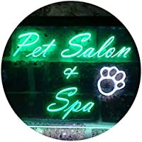 Pet Salon and Spa Illuminated Dual Color LED看板 ネオンプレート サイン 標識 白色 + 緑色 300 x 210mm st6s32-i0593-wg