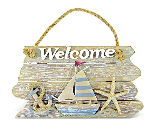 Puzzled Vintage Nautical Wooden Welcome Front Door Sign, 9.75' x 5.5' Decorative Rope Handle Ornament Plaque Sailboat Starfish Anchor Indoor Outdoor Porch Garden Cafe Store - Beach Theme Home Decor