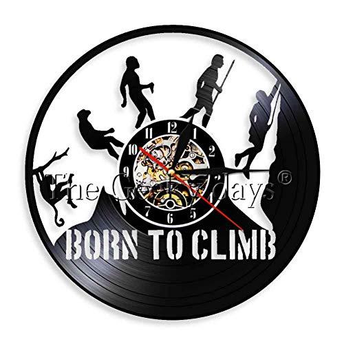 CHANGWW 1 Pieza Reloj de Vinilo Climb Evolution Born to Climb Regalo para Arte de Pared Escalada en Roca Everest Decoración para el hogar