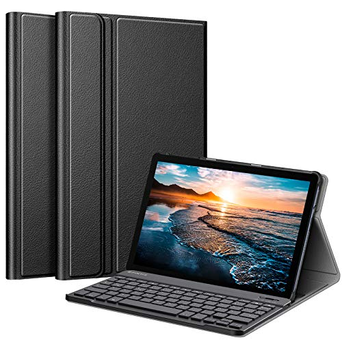 Fintie Tastatur Hülle für Huawei MatePad T10s / T10 10.1 Zoll 2020 - Ultradünn leicht Schutzhülle Keyboard Case mit magnetisch Abnehmbarer Bluetooth Tastatur mit QWERTZ Layout, Schwarz
