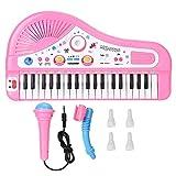 Zerodis 37 Teclado Instrumento de Piano eléctrico, niños Rompecabezas Educación temprana Aprendizaje de música Piano con micrófono para 3 años(Pink)