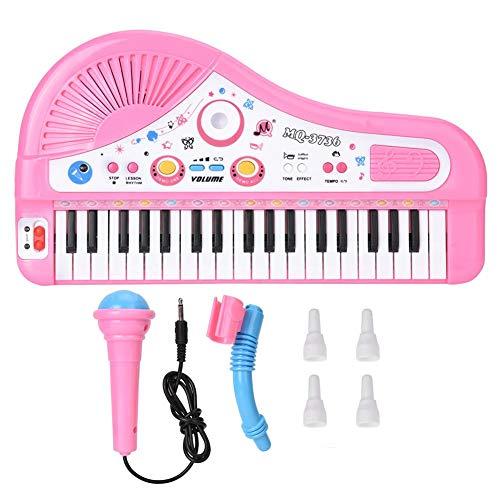 Zerodis 37 Keyboard E Piano Instrument Kinder Musik Spielzeug für Frühe Pädagogische mit Klavier und Mikrofon für Kleinkinder(Pink)