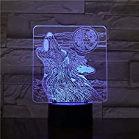 MQJ 3Dイリュージョンランプledナイトライト幼児タッチセンサー電球のためのオオカミ動物小説賞beaulty Officeの装飾的なテーブルランプの最高の誕生日休日の贈り物