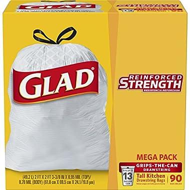 Glad Tall Kitchen Drawstring Trash Bag - 13 Gallon - 90 Count