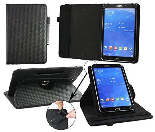 Emartbuy® Denver TAQ-70202 7 Zoll Tablet Universal ( 7 - 8 Zoll ) GepolsterteDesign Schwarz 360GradrotierendeStandFolioGeldbörseTascheHülle + Schwarz Eingabestift