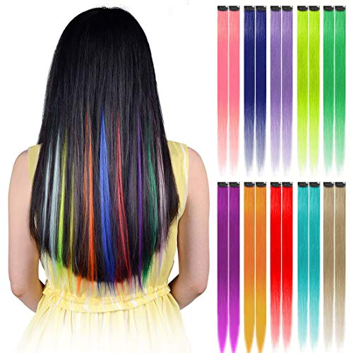 Hawkko 20PCS Colored Clip in Hair Extensions 22 inch Colorful Heat Resistant Straight Multi-Colors Highlight Hairpieces Cosplay Party Christmas Gift for Women Girls