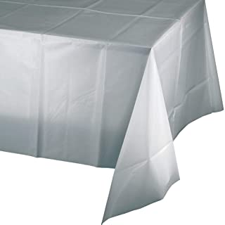 "Mountclear 12-Pack Disposable Plastic Tablecloths 54"" x 108"" Rectangle Table Cover (Silver)"