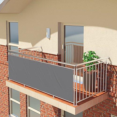BALCONIO Balkon Sichtschutz wasserabweisend Balkonbespannung Balkonabdeckung für Balkon Terrasse aus Polyester-Hellgrau-300 x 85 cm