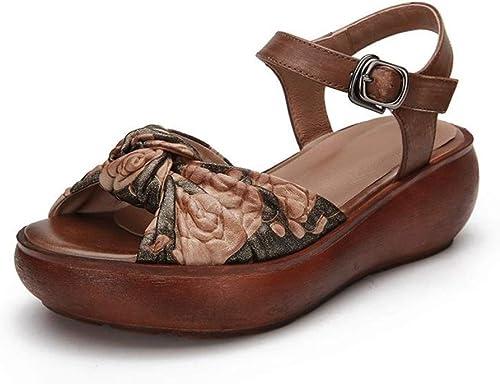 Sandales compensées à Boucles Florales pour Femmes, Similicuir, à Talons mi-Hauts, à Bout Ouvert et à Plateforme