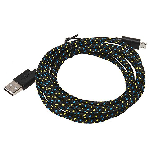 Ouneed® 1m/2m/3 m Universal USB Nylon Cable Chargeur Android (3m, Noir)