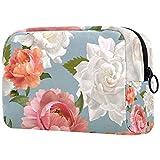 Bolsa de maquillaje personalizada para brochas de maquillaje portátil para mujer, bolso de mano, organizador de viaje, diseño de peonía