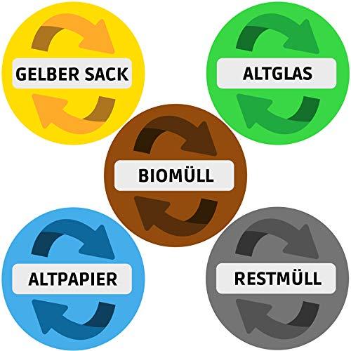 Aufkleber Mülltonne für Mülltrennung (5er Set - 9,5cm - Rund) - Alle wichtigen Motive (Gelber Sack, Altglas, Altpapier, Restmüll, Biomüll) - UV-Schutz für Innen und Außen - Vorgestanzt