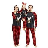FAMKIT Matching Family Pajamas Set Christmas Pajamas for Women Pajama for Family Dark Grey