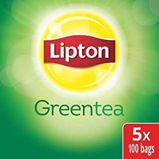 Lipton Green Enveloped Hot Tea Bags 100% Natural, Made with Tea Leaves Sourced from Rainforest Alliance Certified Farms, 100 count, Pack of 5