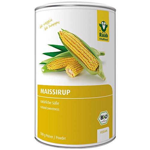 Raab Vitalfood Bio Mais-Sirup Pulver, natürliche Süße, Zucker-Alternative aus Mais, leicht löslich, gut zu dosieren, vegan, glutenfrei, 500 g