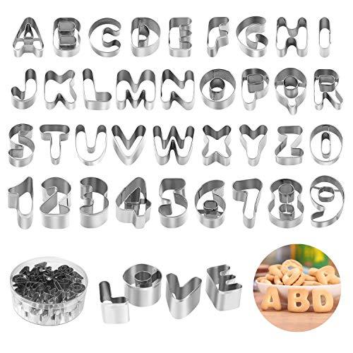 joyoldelf Set di 36 Formine per Biscotti - Lettere dell'alfabeto in Acciaio Inox Biscotti Formine Taglierine,Mini Alfabeto con Numeri e Simboli Matematici