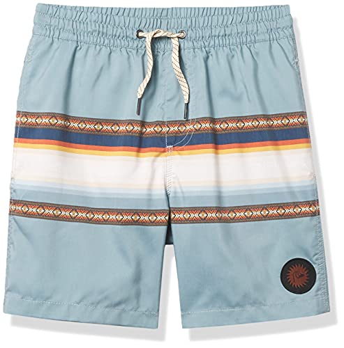 Quiksilver Boys' Sun Faded Youth 15 Volley Swim Trunk Bathing Suit, Citadel Blue, XS/8