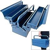 Deuba Werkzeugkoffer leer groß Stahl 5-teilig Werkzeugkasten Werkzeugbox Werkzeugkiste Werkzeug Montage Koffer blau 580x220x210mm