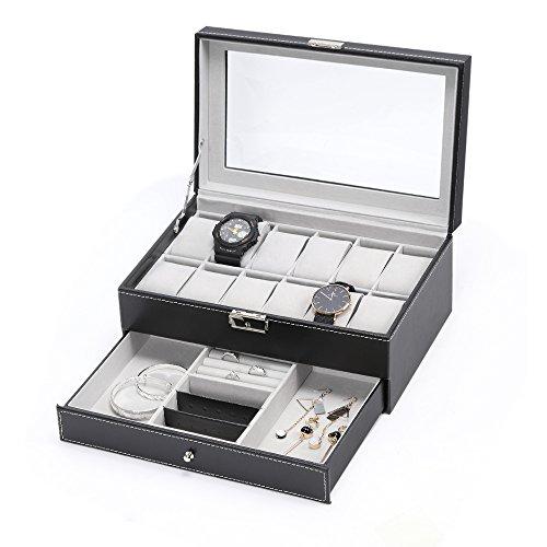 HAITRAL 12 Fächer Doppelschicht aus Leder Uhrenbox,Uhrenbox Premium Display Craft, Luxus-Etui-Organizer, Eleganter Organizer für Schmuck, Armbänder, Halsketten, Schwarz