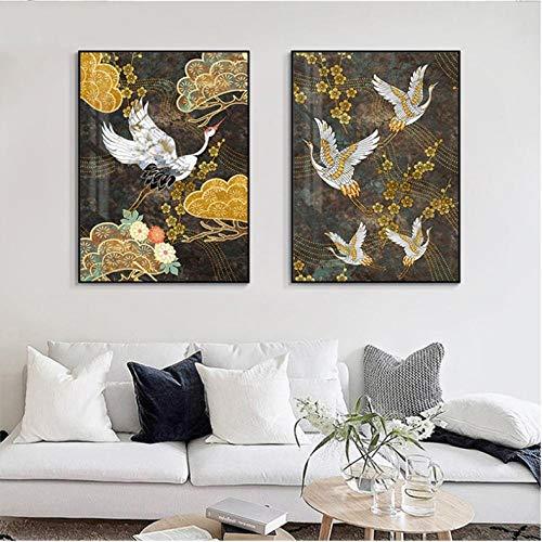 agwKE2 Cuadros de Pared para Sala de Estar Cuadros de pájaros Cuadro japonés Arte Abstracto de la Pared Pintura de la Lona Carteles e Impresiones de Bronce Dorado 40x60cmx2 sin Marco