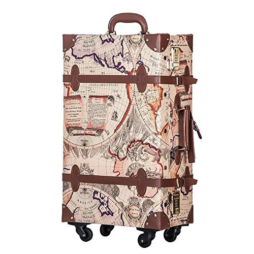 TANOBI トランクケース スーツケース キャリーバッグ SSサイズ機内持ち込み可 復古主義 おしゃれ 可愛い 13色4サイズ (マップ×ライトブラウン, Mサイズ(3−5泊))