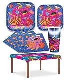 Hanukkah Paper Goods Set - Mega Pack - Serves 8 - Plates, Cups, Napkins, and Tablecloth