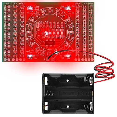 용접 솔더링 연습 LED 키트 - MAKERFOCUS DIY 전자 회로 기술 훈련 PCB 보드 모듈과 배터리 홀더를 이용한 초보용접 학습자용