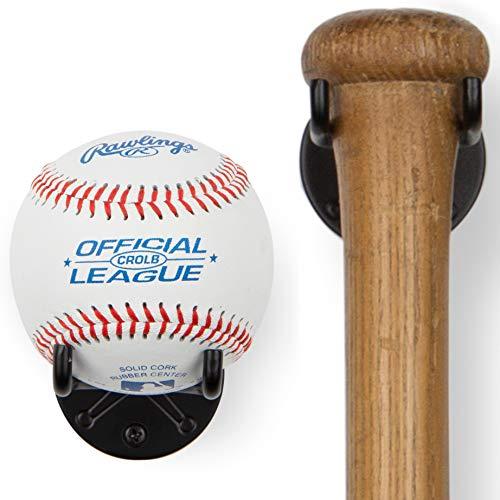 Wallniture Sporta Wall Mount Baseball and Bat Display Memorabilia Holder Collectibles Rack Black Set of 2