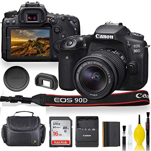 Canon EOS 90D DSLR Camera with 18-55mm Lens, Padded Case, Memory Card, and More - Starter Bundle Set (International Model) (Renewed)