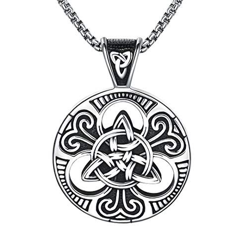 BBBGEM Mysterious Viking Symbol Titanium Steel Ireland Celtic Trinity Knot Necklace Gift for Men Protection Spirit Cross Necklace