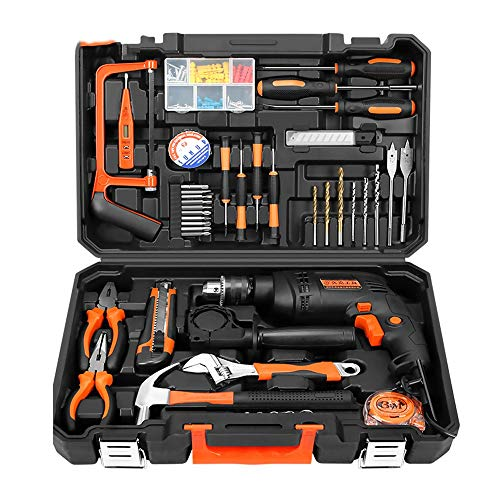 GXYNB Cordless Hammer Drill Tool Kit 70Pcs Household Power Tools Drill Set with 500W Lithium Cordless Drill Driver Claw Hammer Wrenches Pliers