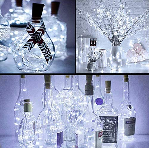 Chipark Bottle Cork Lights, 12 Pack 15 LED Cork Shaped Battery Operated Wine Lights with Cork Silver Wire Micro LED String Light for DIY Bedroom Wedding Party Indoor (Cool White+ Extra 9 Battery)