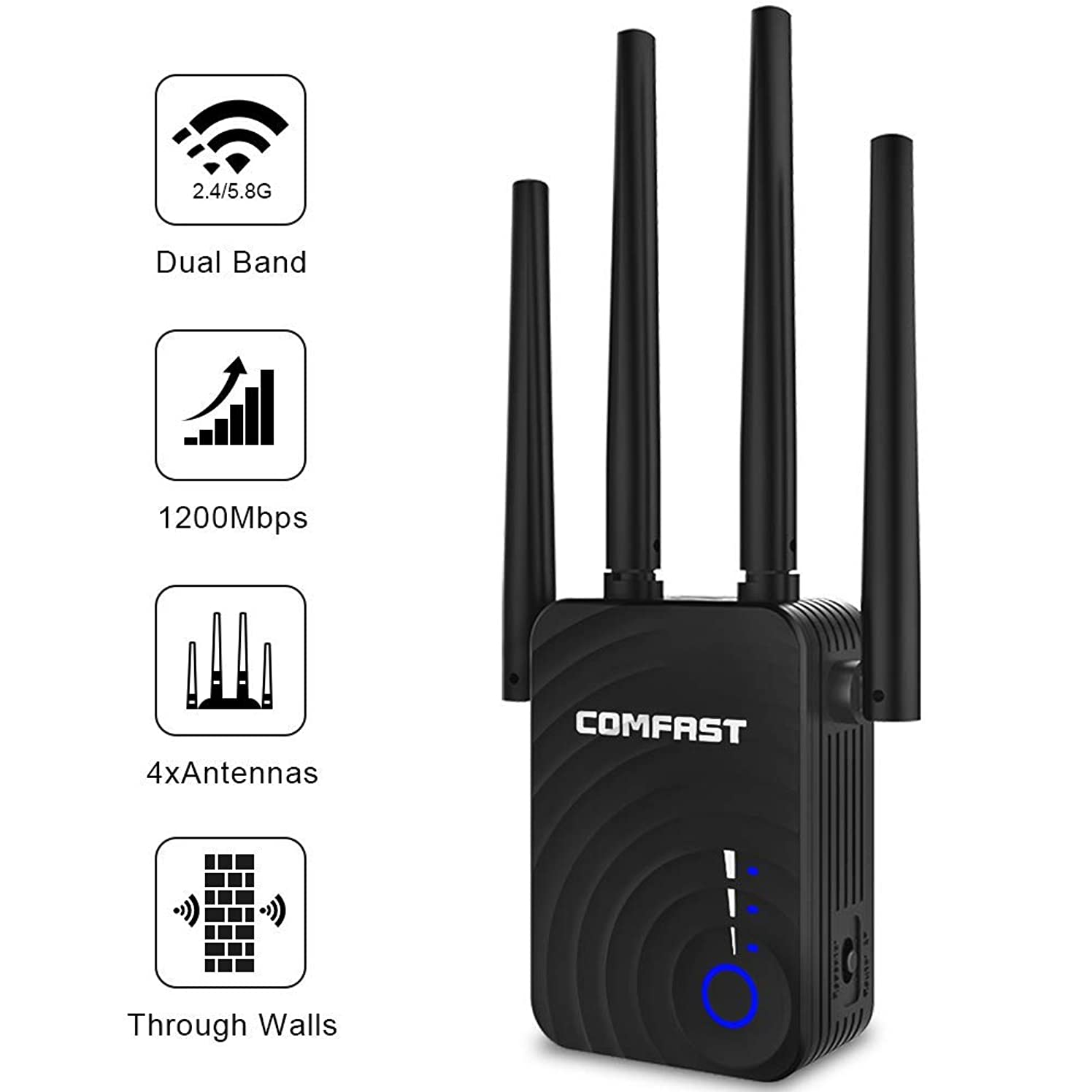 WiFi Extender | 1200Mbps WiFi Booster Signal Amplifier | 2.4&5GHz Dual Band WiFi Repeater Range Extender, 4 WiFi Antenna 360° Full Coverage Network | Compatible with Alexa/Extends WiFi to Smar