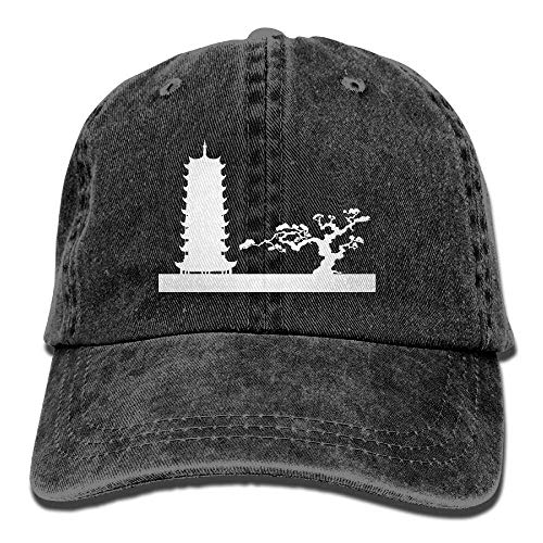 Unisex-Baseballmütze Yarn-Dyed Denim-Mütze Japanese Landscape Silhouette Adjustable Snapback Solid Hat Net red 1811