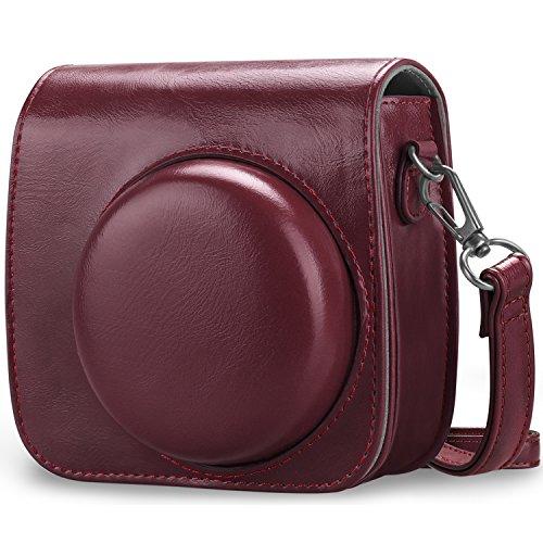 Fintie Tasche für Fujifilm Instax Mini 8 / Mini 9 Sofortbildkamera - Premium Schutzhülle Reise Kameratasche Hülle Abdeckung mit abnehmbaren Riemen, Helles Bordeaux