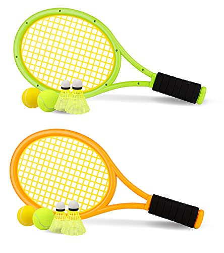 Kids Tennis Racket Set with Ball, Plastic Tennis Racquet for Toddlers (Age 3+) Outdoor/Indoor Play